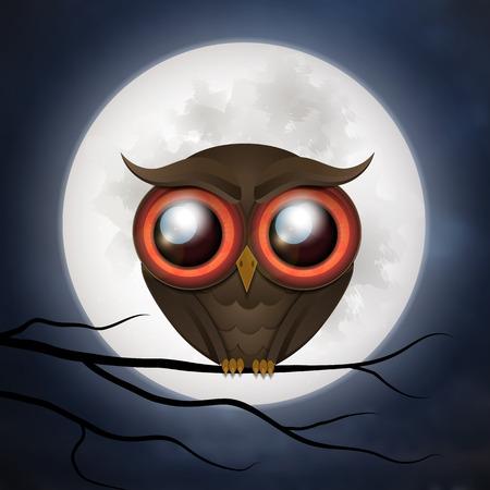 owl illustration: Happy Halloween cute owl card. Vector illustration