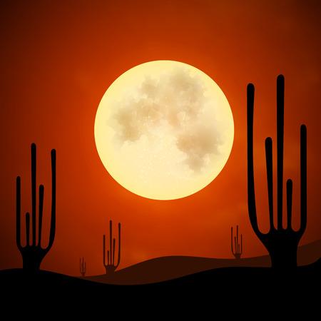 wasteland: Desert heat night moon silhouette cactus sand