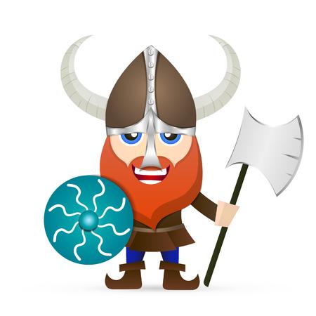 Viking red beard glance armor shield axe Illustration