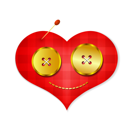 white cloth: Embroidered red heart on a white cloth close up.Gold buttons.