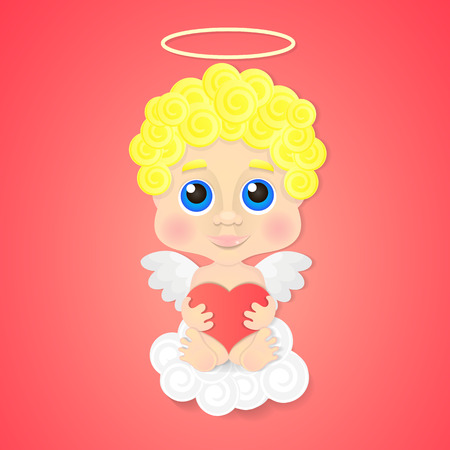 valentine cherub: Cute angel with heart and white wings