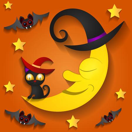 Halloween background with moon in the orange sky, bats, illustration.Black cat. Illustration