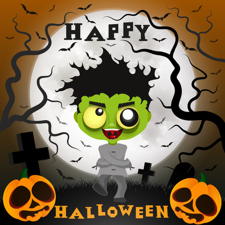 crazy guy: Halloween holiday painted icons of Halloween crazy guy Illustration