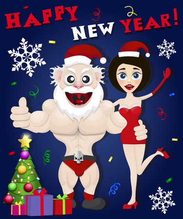 snow maiden: Funny Santa Claus and snow maiden happy new year Illustration