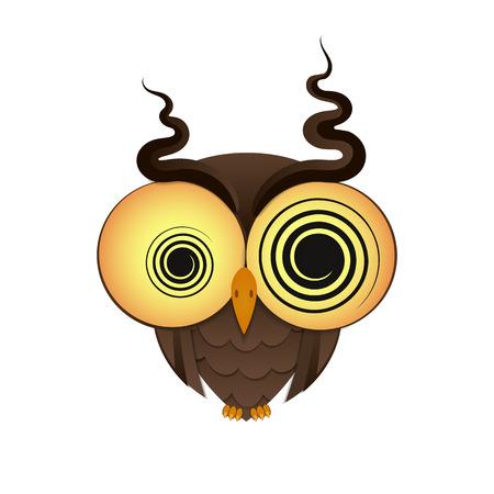 owl illustration: crazy owl with big eyes vector illustration Illustration