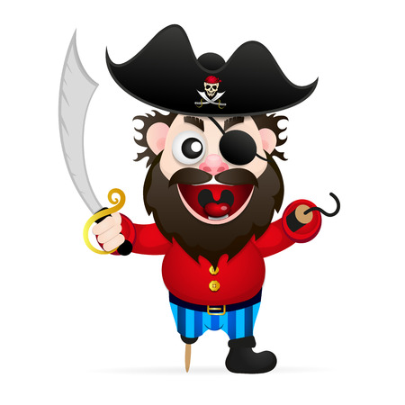 Funny pirate with sword and hook illustration. Illustration