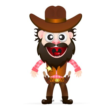 bandits: Cool cowboy was preparing to shoot at the bandits. Illustration