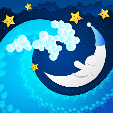 horizon over water: Surreal seascape with moon and stars, and sea wave. Illustration