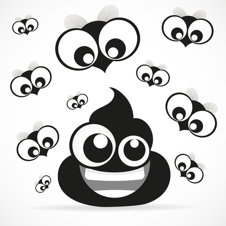feces: Funny turd with fly icon isolated on white background. Illustration