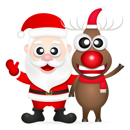 nosed: christmas illustration of santa claus and red nosed reindeer