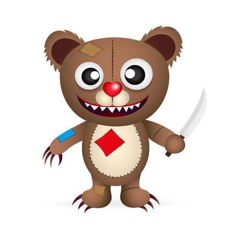 growl: vector angry cartoon bear with a knife isolated on white Illustration