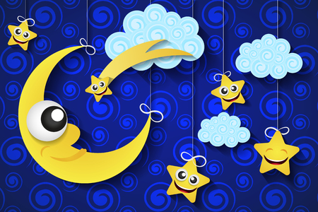 evening sky: Vector background with evening sky. Moon and stars in the clouds.