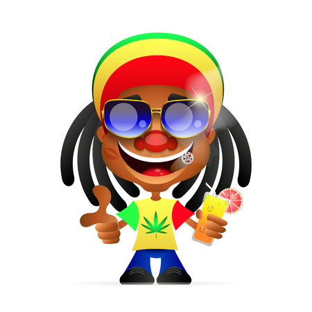 spliff: Rasta Cap with dreadlocks on white background. Spliff smoking drug cannabis. Jamaican Hat