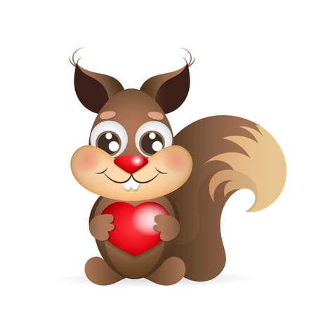 Cute squirrel with a heart and red cheeks Illustration