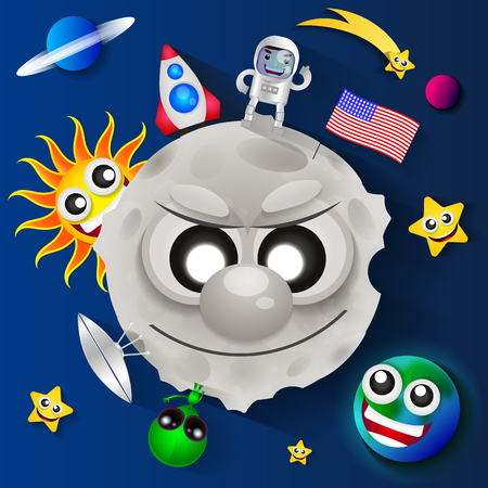cosmonautics day: Cosmonautics day USA greeting card illustration