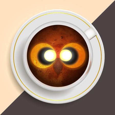 Owl hot coffee mug Desk vector illustration