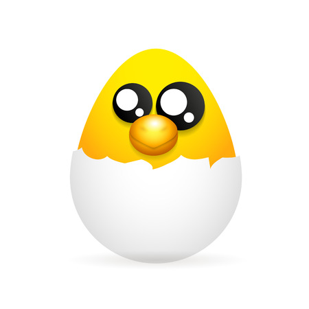chick: newborn chick in the egg happy Easter Illustration