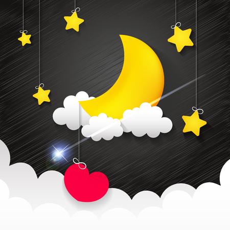 Nachtelijke hemel, natuur landschap met maan, goede nacht liefde vector illustratie. Stockfoto