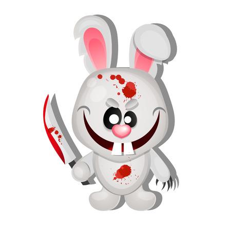 Rabbit killer happy Halloween greeting card illustration Illustration