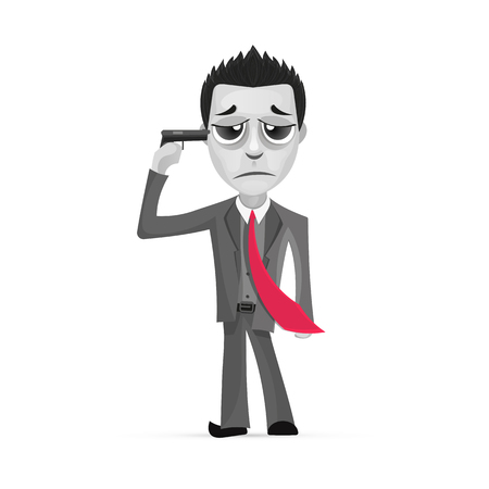 Businessman committing suicide. Businessman pointing a gun at his head illustration