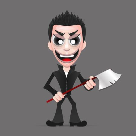 Maniac, a psychopath murderer wielding an axe dripping blood from it. Ilustracja