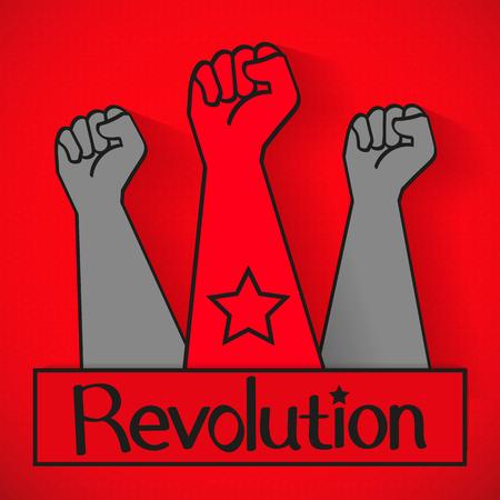 Human hand Up Proletarian Revolution - Vector Illustration.