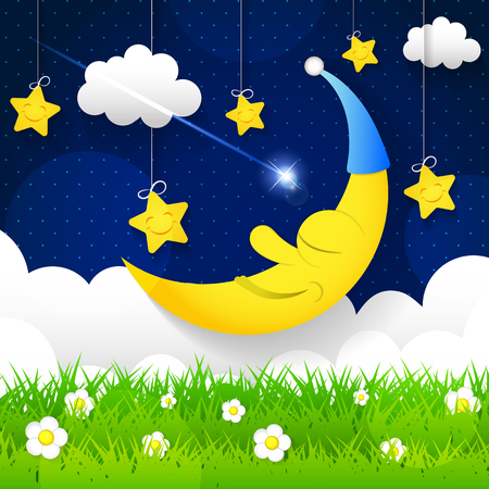 Vector background with evening sky. Moon and stars in the clouds.