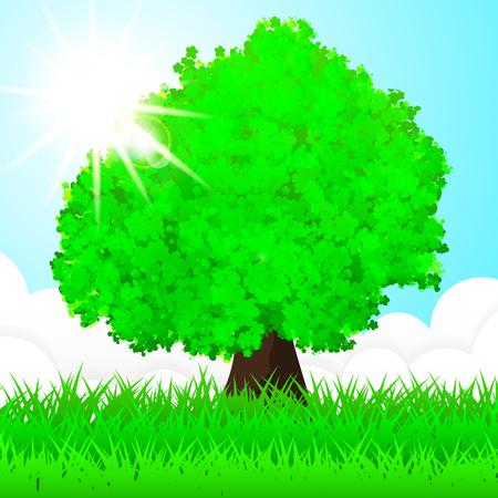 World environment day background. Vector tree illustration. Illustration