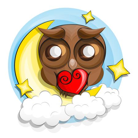 Good night owl sitting on a moon Illustration
