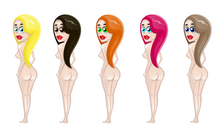 Vector illustration of girls. Animated film realistic people illustration. Flat young woman. Girl of a type of the Back party