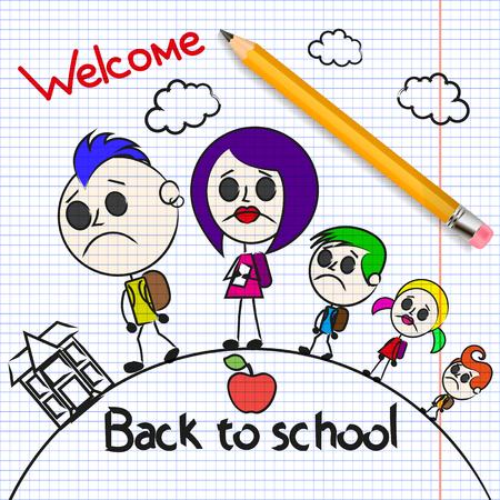 Welcome back to school Cute school kids. Illustration