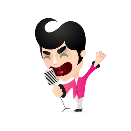 Singer singing into a microphone . Vector flat design illustration isolated on white background.