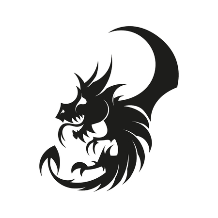 Dragon logo met vleugels vector illustratie