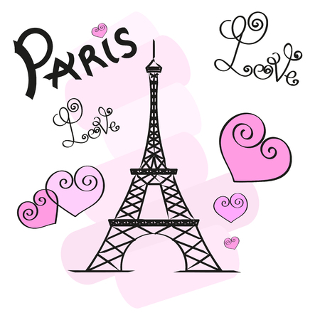 Paris hand drawn vector lettering and Eiffer Tower.