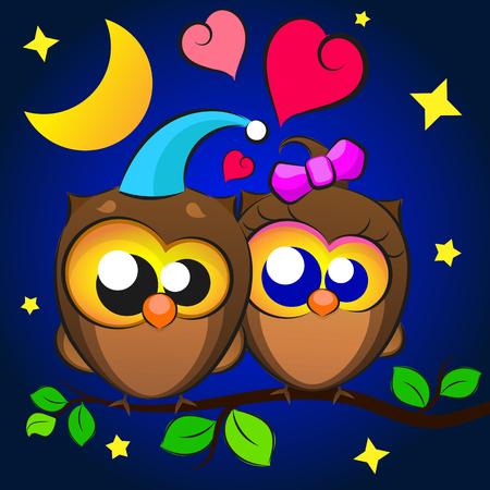 Love Two owls Иллюстрация