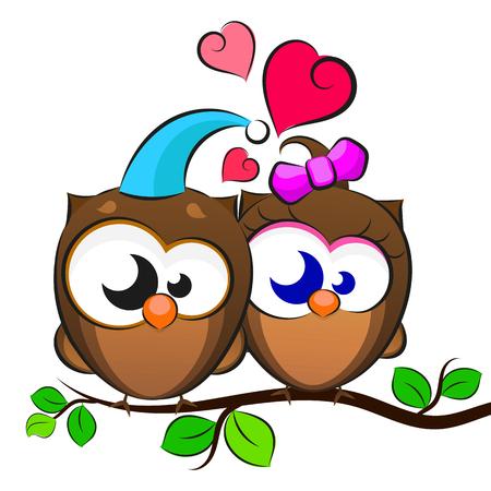 Love Two owls Illustration