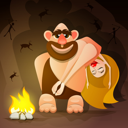 Cavemen family illustration Illustration