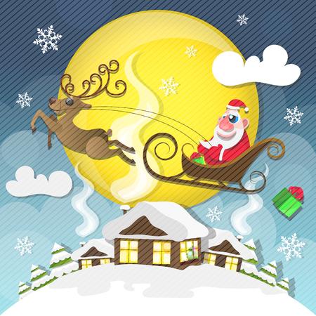 Magic silent night cute santa claus with gifts is coming down magic silent night cute santa claus with gifts is coming down holding giant christmas m4hsunfo