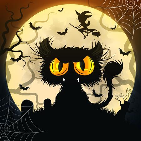 Halloween Black Cat Illustration