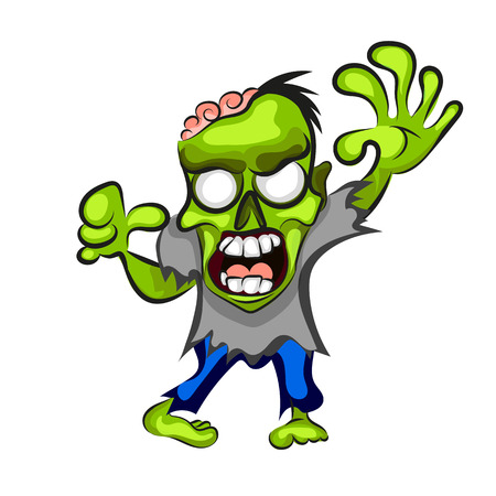 Cartoon zombie, isolated on white Stock Photo