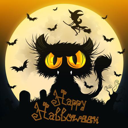 Halloween Black Cat Stock Photo