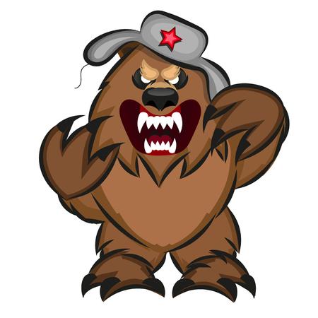 Illustration of a soviet bear. Symbol of Russian bear,
