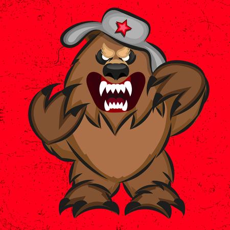 Illustration of a soviet bear. Symbol of Russian bear