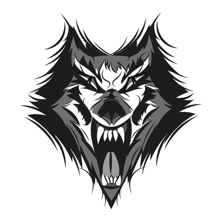 Vector illustration of furious angry face of terrible wolf with open mouth and terrible teeth. Great for use as logo element, icon, as a tattoo or as symbol of strength and aggressiveness. Illustration