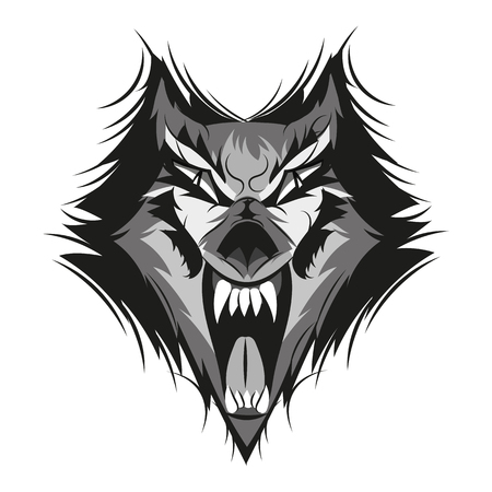 Vector illustration of furious angry face of terrible wolf with open mouth and terrible teeth. Great for use as logo element, icon, as a tattoo or as symbol of strength and aggressiveness.