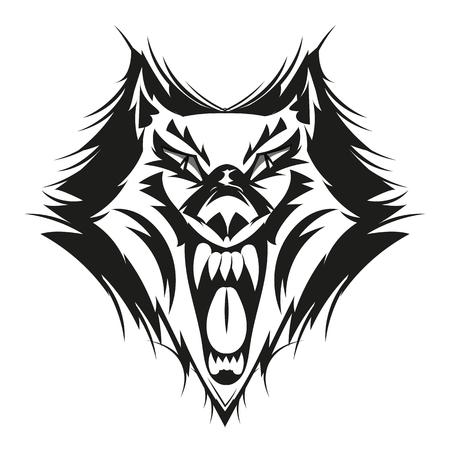 Fierce wolf face. Digital Drawing.vector illustration art