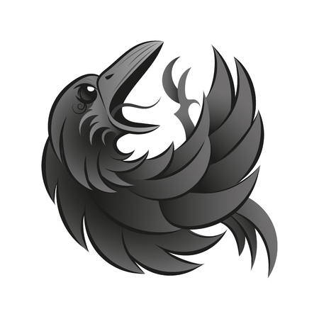 Black raven isolated on white background. Hand drawn crow.