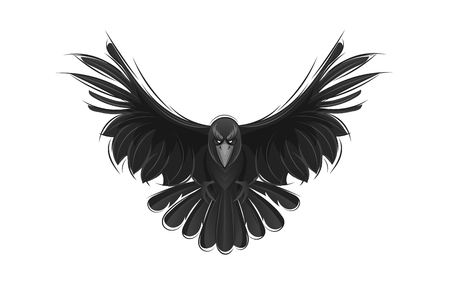 Black raven isolated on white background. Hand drawn crow vector illustration.