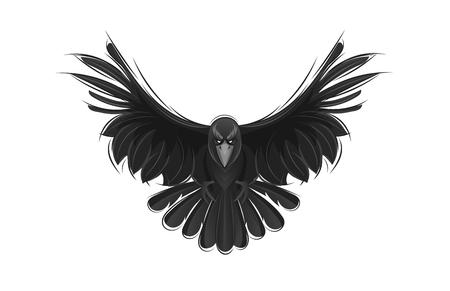 Zwarte raaf die op witte achtergrond wordt geïsoleerd. Hand getrokken kraai vectorillustratie.