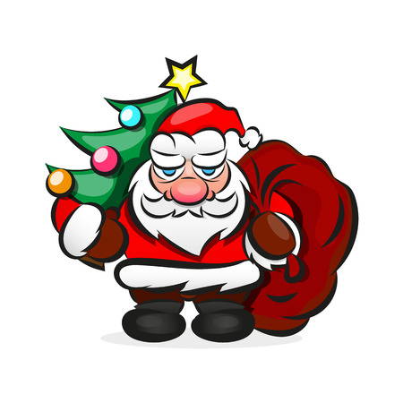 Santa Claus Carrying Big Sack With Gifts Vector. Classic Santa In Red Suit.Cute Cartoon Illustration.